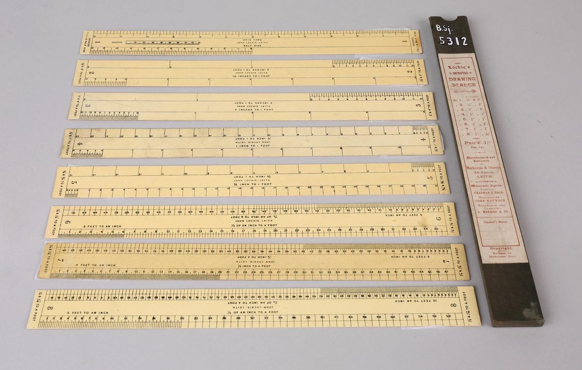Tegneskala linjaler for omregning fra inch. til fot. til sammen 8 stk. i etui.