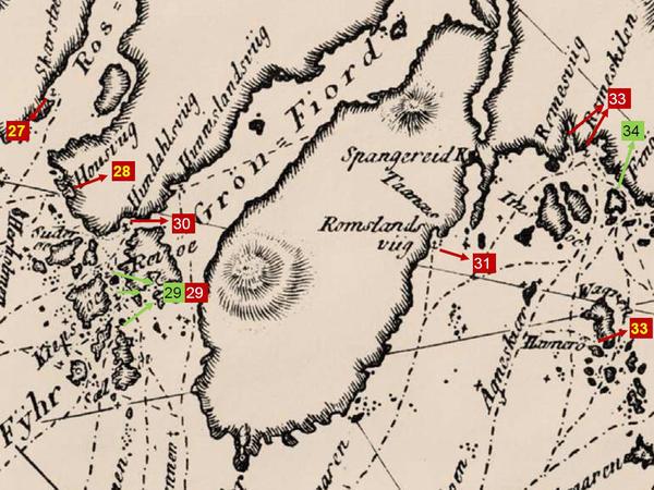 Utsnitt fra Paul Løwenørns sjøkart nr. 5 over den norske kyst fra ca. 1800, hvor man kan se havnen Svinør avmerket (nr. 35), samt de viktigste seilingsrutene i området.. Foto/Photo