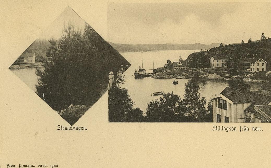 """Enligt Bengt Lundins noteringar: """"Stillingsön från norr. Strandpromenaden"""""""