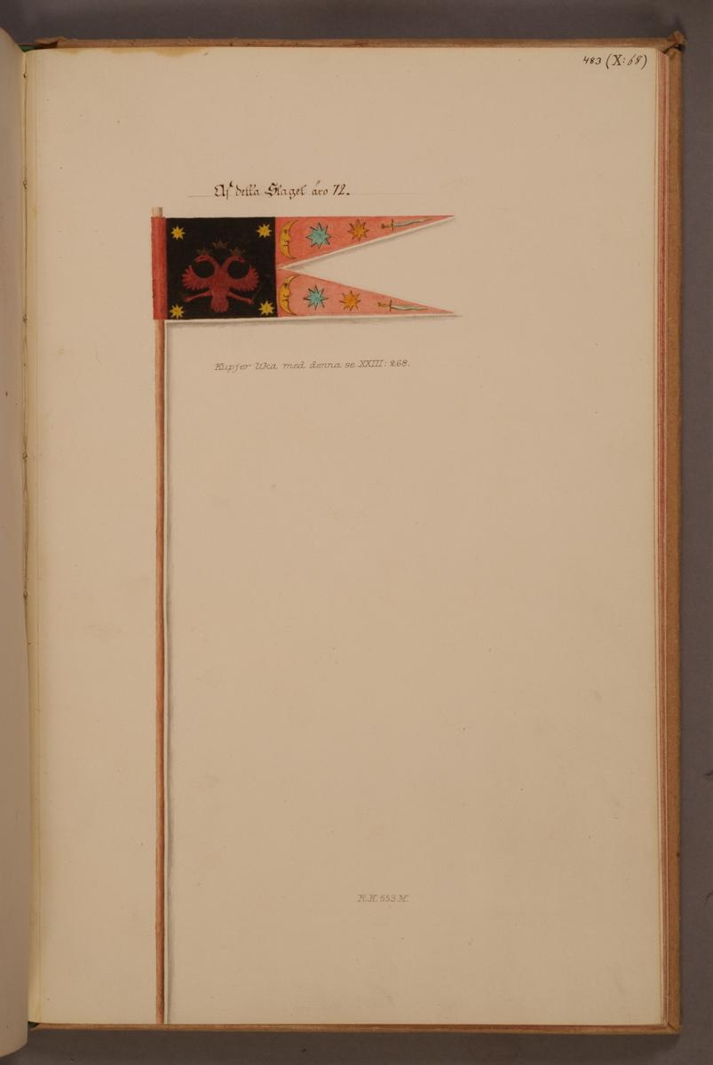 Avbildning i gouache föreställande fälttecken taget som trofé av svenska armén. Den avbildade lansfanan finns bevarad i Armémuseums samling, för mer information, se relaterade objekt.