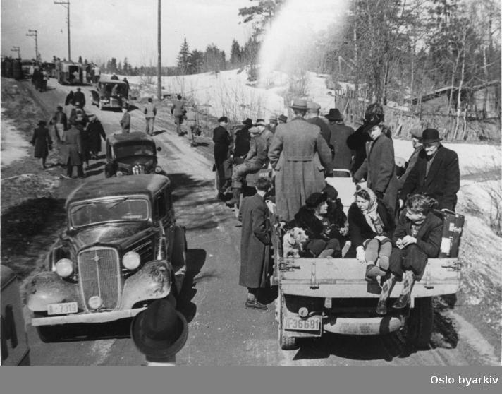 Panikkdagen 10. april etter rykter om bombing av Oslo fra britiske bombefly. Presis klokken 11.30 onsdag 10. april 1940 gikk flyalarmen. Folk på flukt i biler, lastebiler og til fots mot Grefsenåsen og Lillomarka.