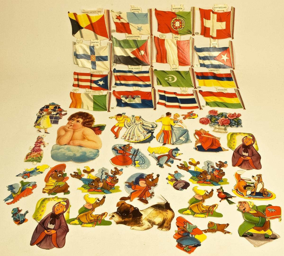 En samling lösa bokmärken som förvaras i ett kuvert, bl a en karta med flaggor.  Har tillhört givaren Maria Hellquist, Sandviken.