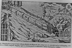 """Pumpeverk til gruve, drevet av såkalt """"stangfelt"""". Etter Löh"""