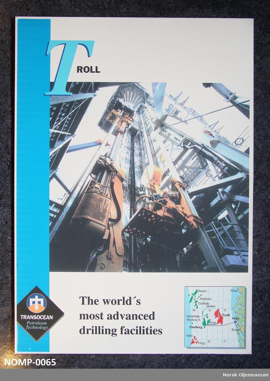 Plakat med fotografi av boretårnet på Troll og liten karttegning av oljefeltet Troll og de omkringlioggende feltene i nordsjøen.