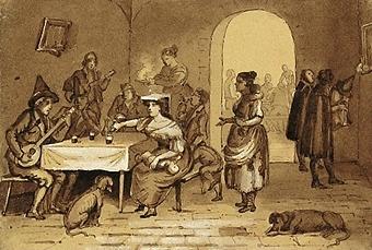 """Enl. Liggaren: """"Lavyr, italienskt krogliv, av samme.""""  Motivet är hämtat från en italiensk bar i källarplan. Till höger i bild sys ett valv in till ytterligare ett rum. På golvet finns två hundar och 11 st personer, två av dem spelar på luta. Passepartout. Osign."""