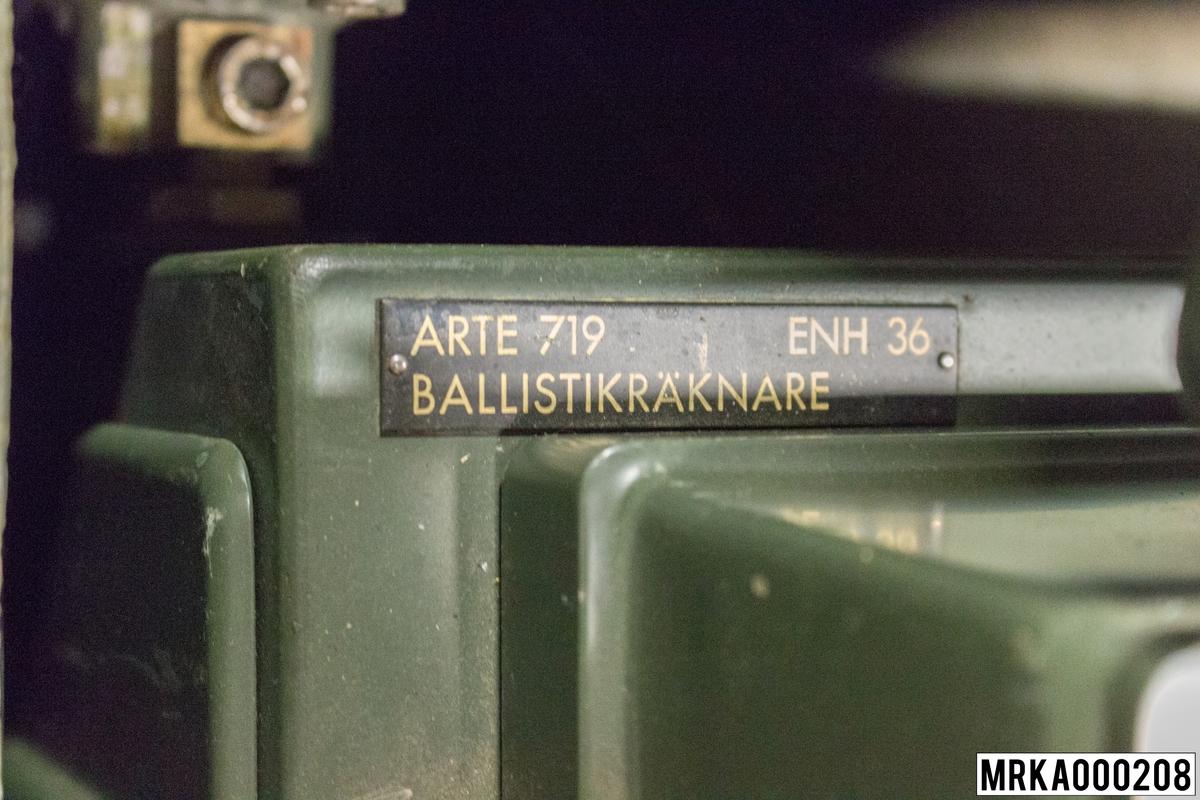 Ballistikräknare Arte 719. Till 7,5 cm fältpjäs m/65, 15,2 cm kanon m/37 o B.
