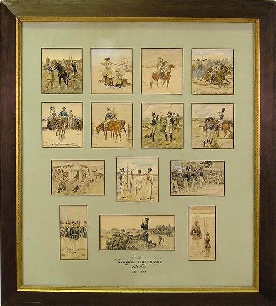 """Enl. Liggaren: """"Akvarell. Västgöta regementes uniformer 1631 - 1899. 14 insatta i ram. Gåva av kapten E Lieberath, som måla dem. Storlek: 100 x 90 cm.""""  89-03"""