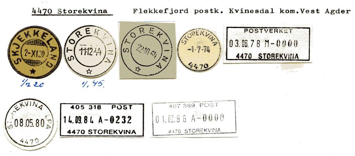 Stempelkatalog 4470 Storekvine (Skjekkeland), Kvinesdal, Vest-Agder
