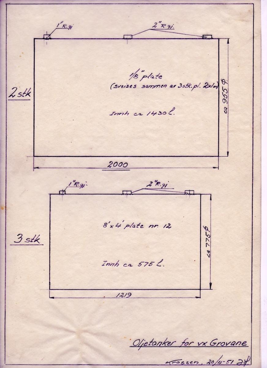 Arbeidstegning til oljetanker for verksted Grovane fra 1951