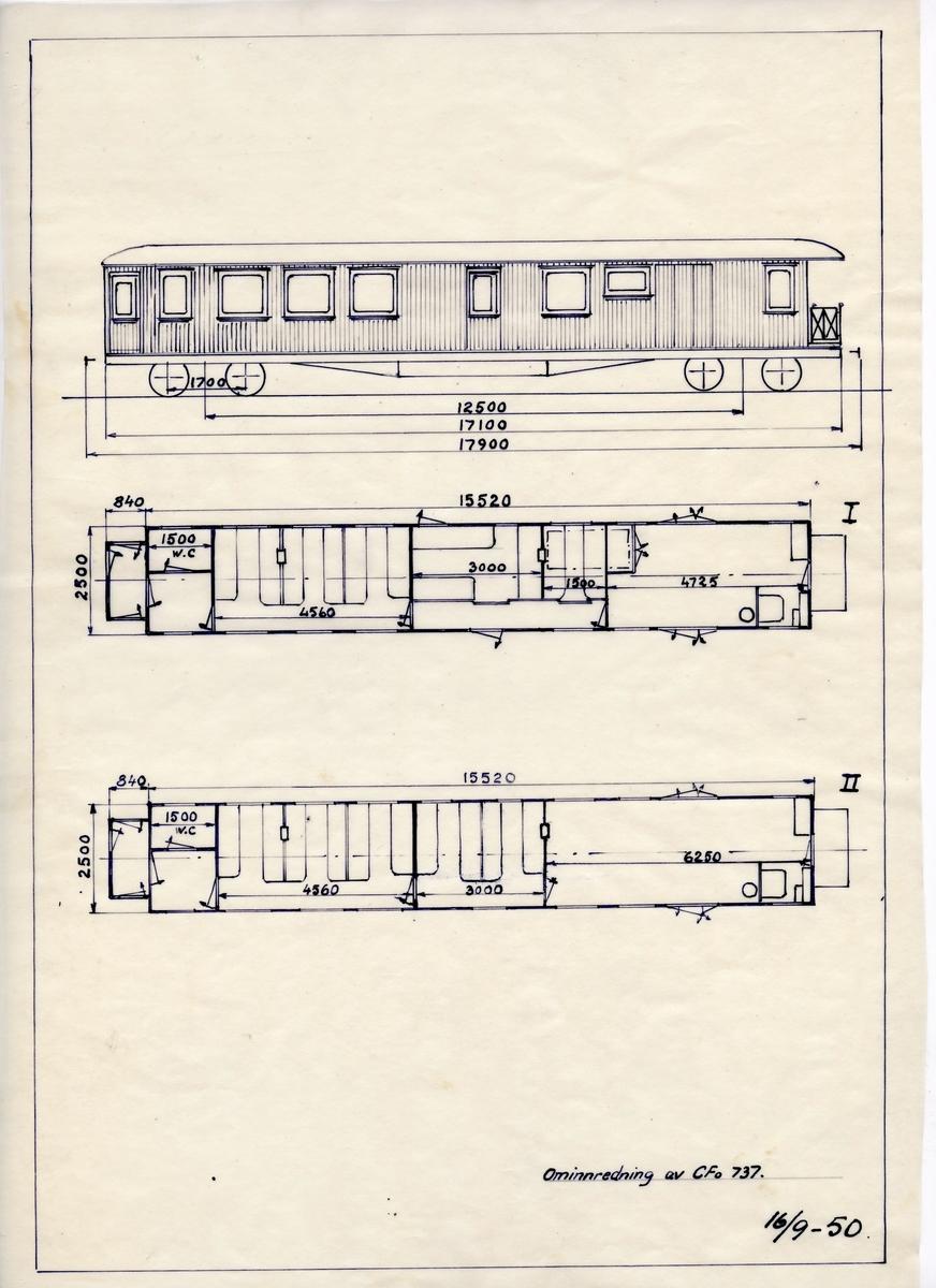 Håndtegnet arbeidstegning. Hovedtegning i forbindelse med ominnredning av Cfo 737, dvs smalsporet passasjervogn med konduktøravdeling. Datert 1950.