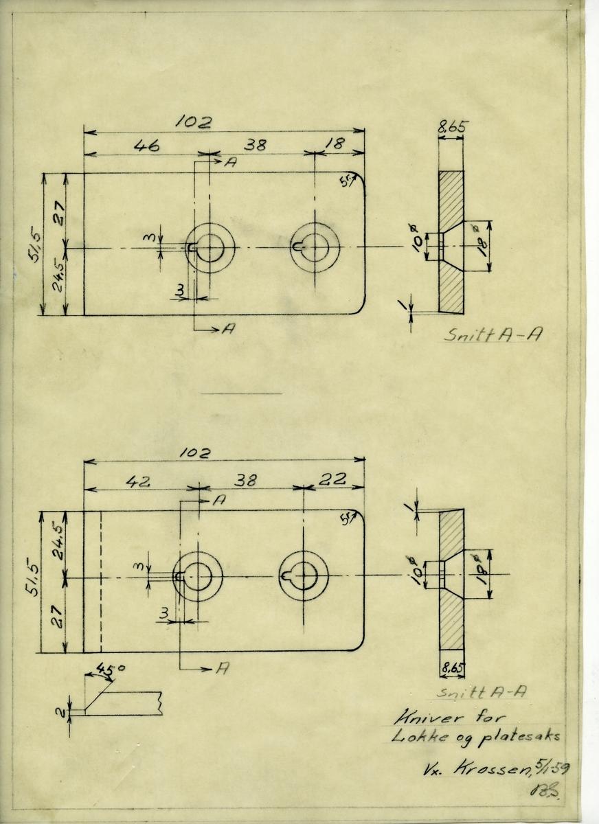 Håndtegnet arbeidstegning til kniver for Lokke (sic) og platesaks, utarbeidet ved Krosssen i 1959.
