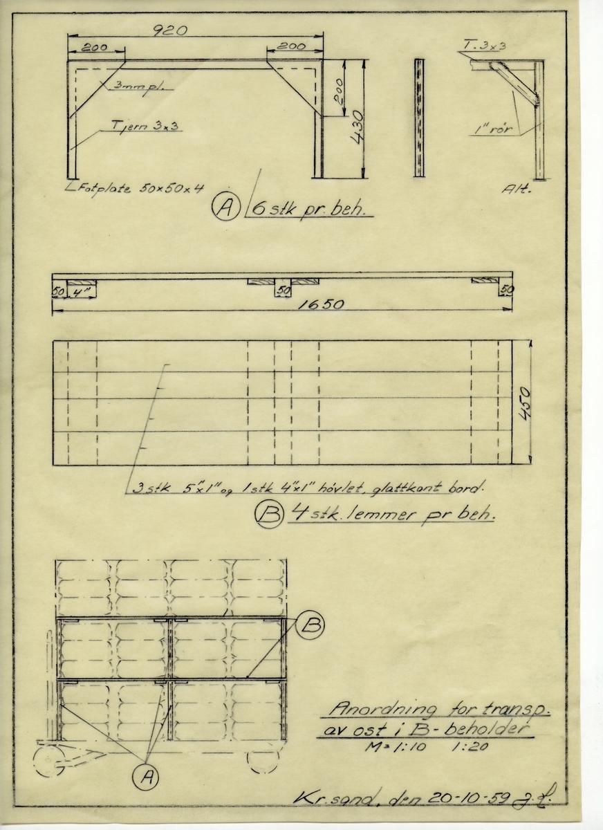 Håndtegnet arbeidstegning til anordning for transport av ost i B-beholder. Utarbeidet på Krossen i 1959.