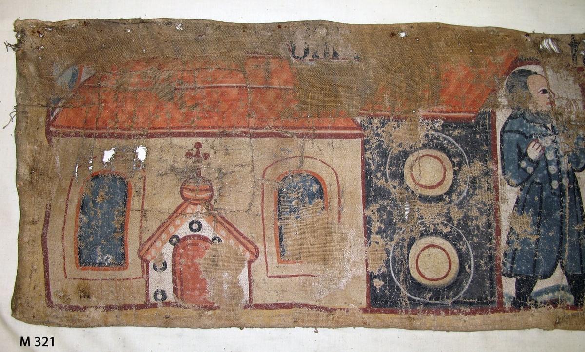 Bonadsmålning från Brearedsgruppen med religiöst motiv i blått, rött, orange och gult målad med tempera på tuskaftvävt linnetyg - pigment och ägg/äggula plus ev mjöl. De gröna pigmenten kan vara orpiment eller schweinfurtergrönt båda innehållande arsenik (Nyström 2012:150-151).  Bonaden är troligen målad av Johannes Nilsson (1757-1827) verksam i Gyltige, Breared socken eller hans elev Anders Pålsson (1781-1849) verksam i Trönninge söder om Halmstad. Bonaden är märkt Breared PPS i övre höger hörn vilka initialer inte liknar någon känd bonadsmålare förutom de sista PS i Anders Pålsson. Men stilen vid jämförelse med andra bonadsmålningar liknar mer Johannes Nilssons än Anders Pålssons.