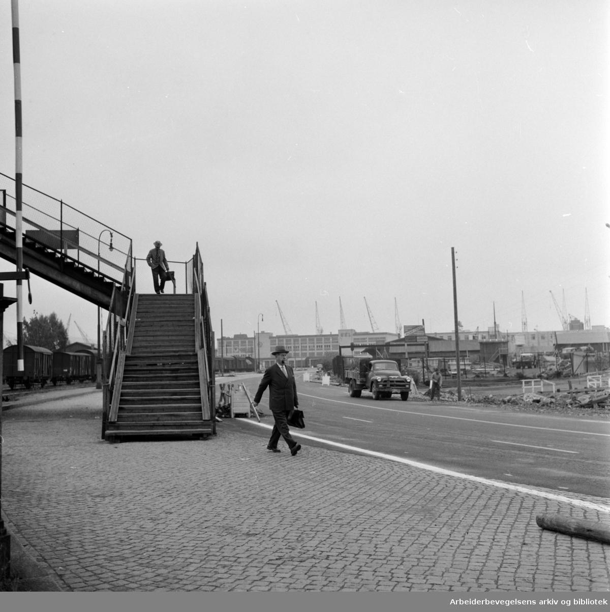 Strandpromenaden. Fotgjengerovergangen ved Filipstad. Oktober1959