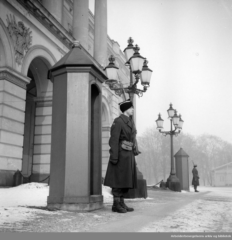 Slottet. Gardevakt i vinterkulde. Februar 1947