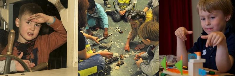 Bildemontasje som viser barn i aktivitet på museet. Til venstre Sally Jones, i midten arkeologi, til høyre Barnas båtverksted.
