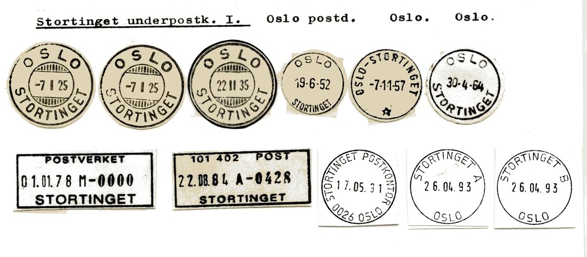 Stempelkatalog Stortinget, Oslo