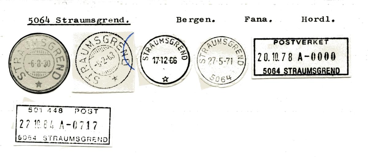 Stempelkatalog 5064 Straumsgrend, Bergen, Fana, Hordaland