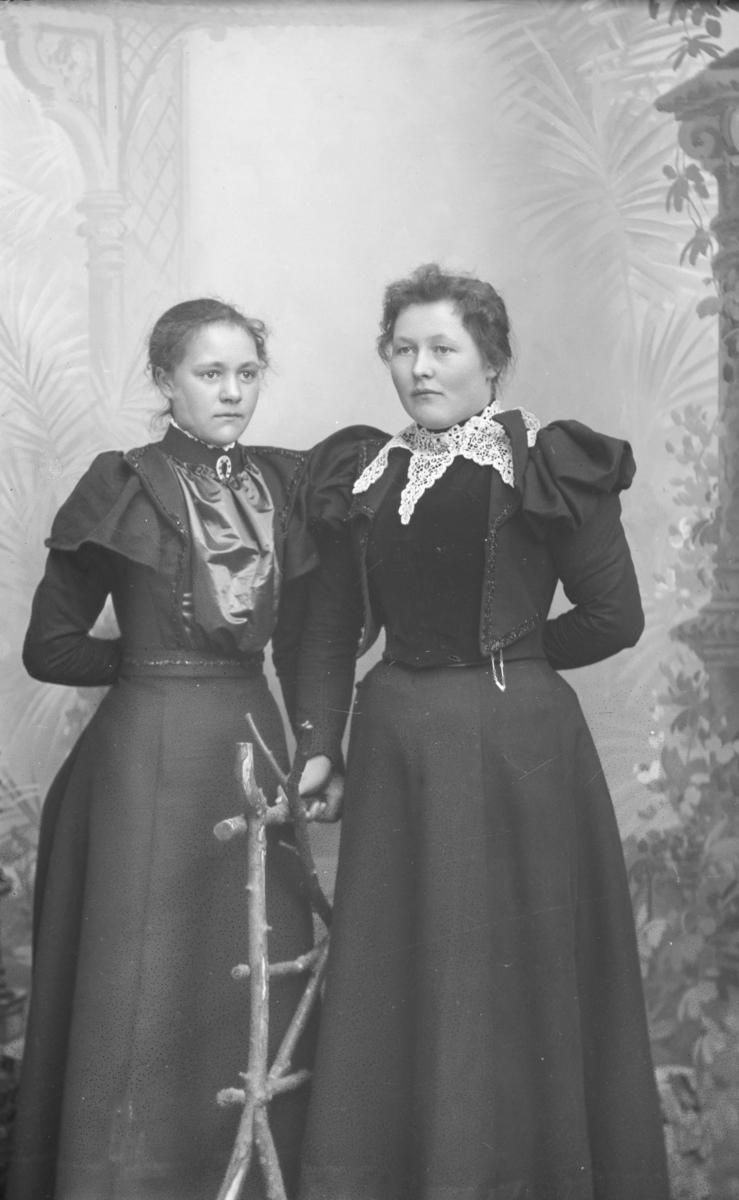 Portrett. To unge kvinner, helfigur. Karen Toksen t.v.