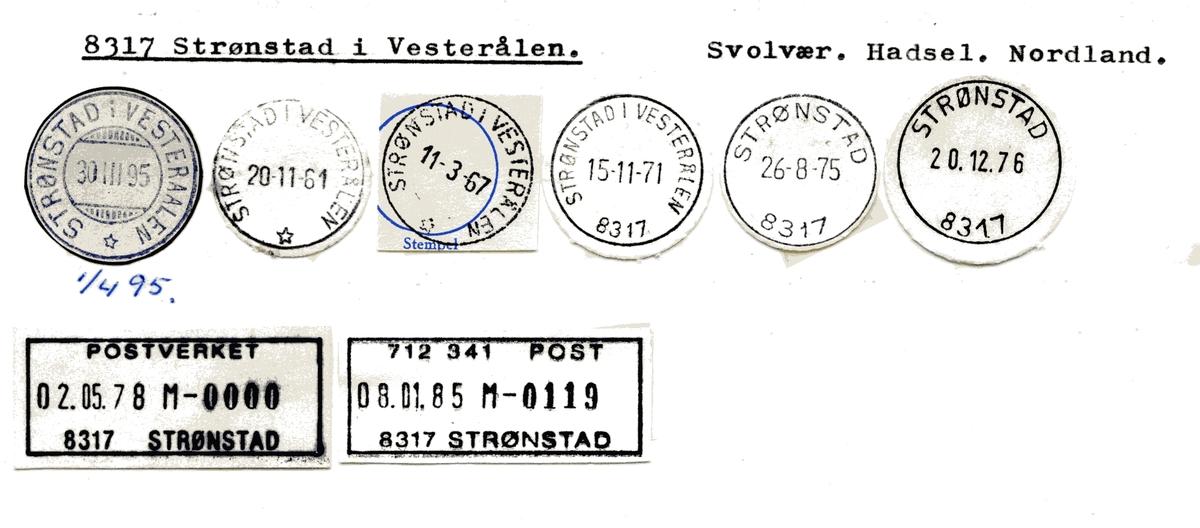 Stempelkatalog  8317 Strønstad, Hadsel kommune, Nordland (Strønstad i Vesteraalen)