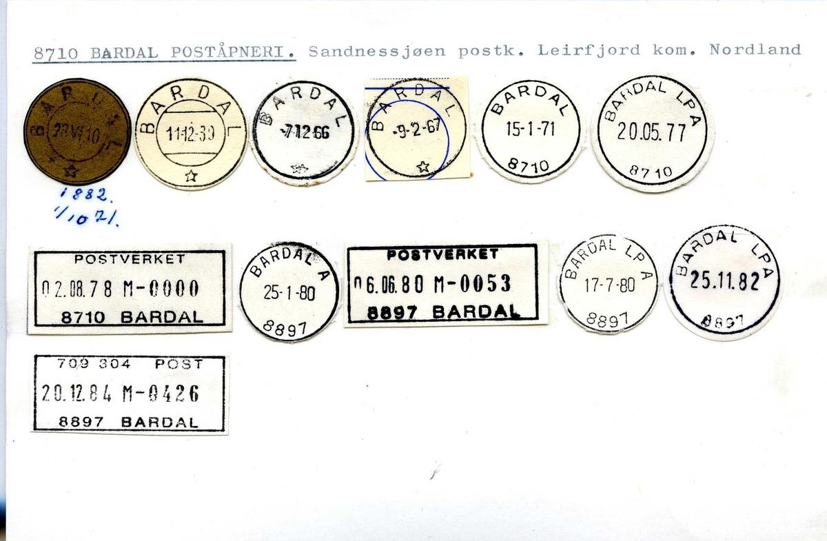 Stempelkatalog, 8710 Bardal, Sandnessjøen, Leirfjord, Nordland