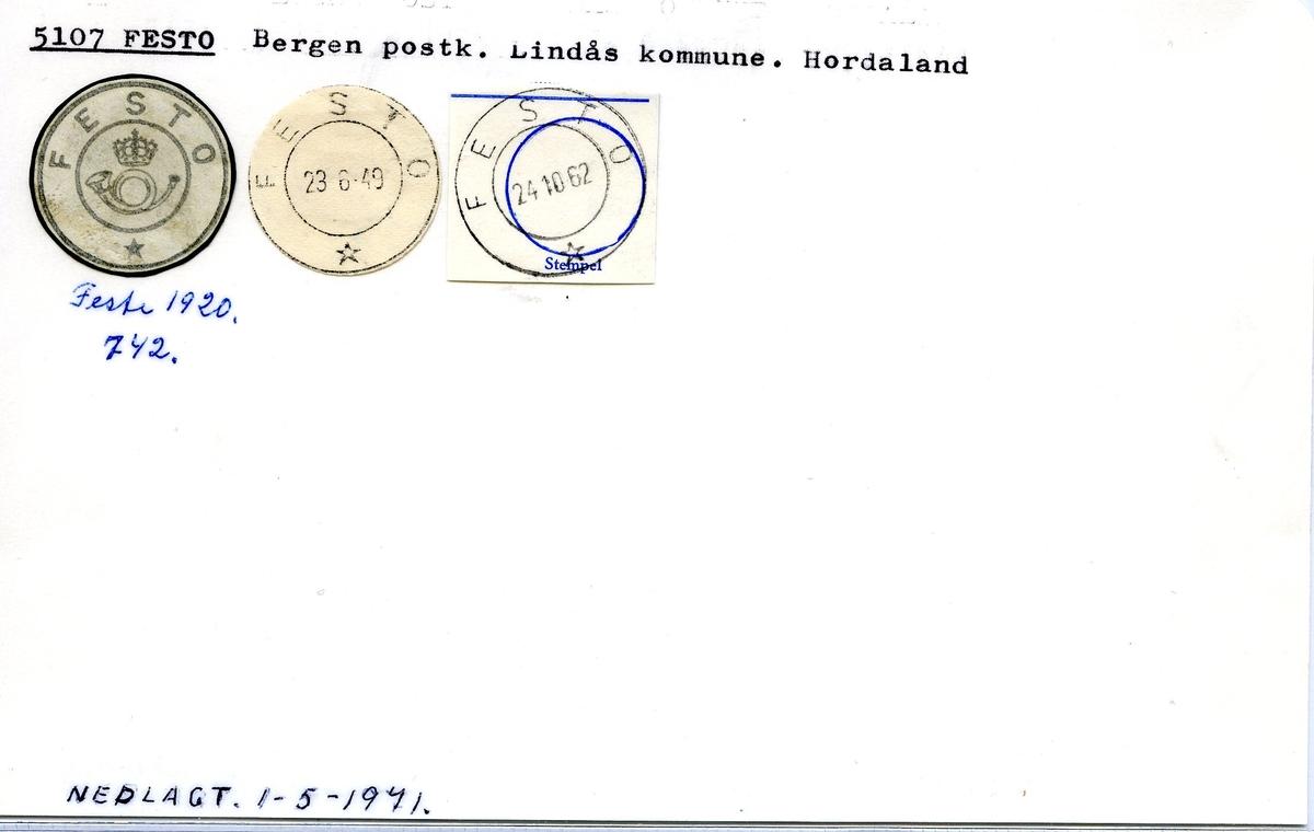Stempelkatalog, 5107 Festo, Lindås, Hordaland