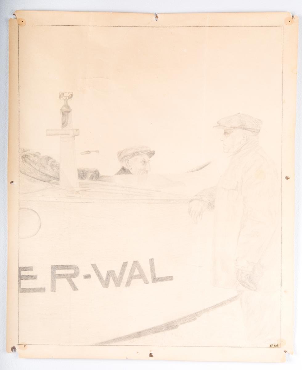 To menn samtaler over båtdekke