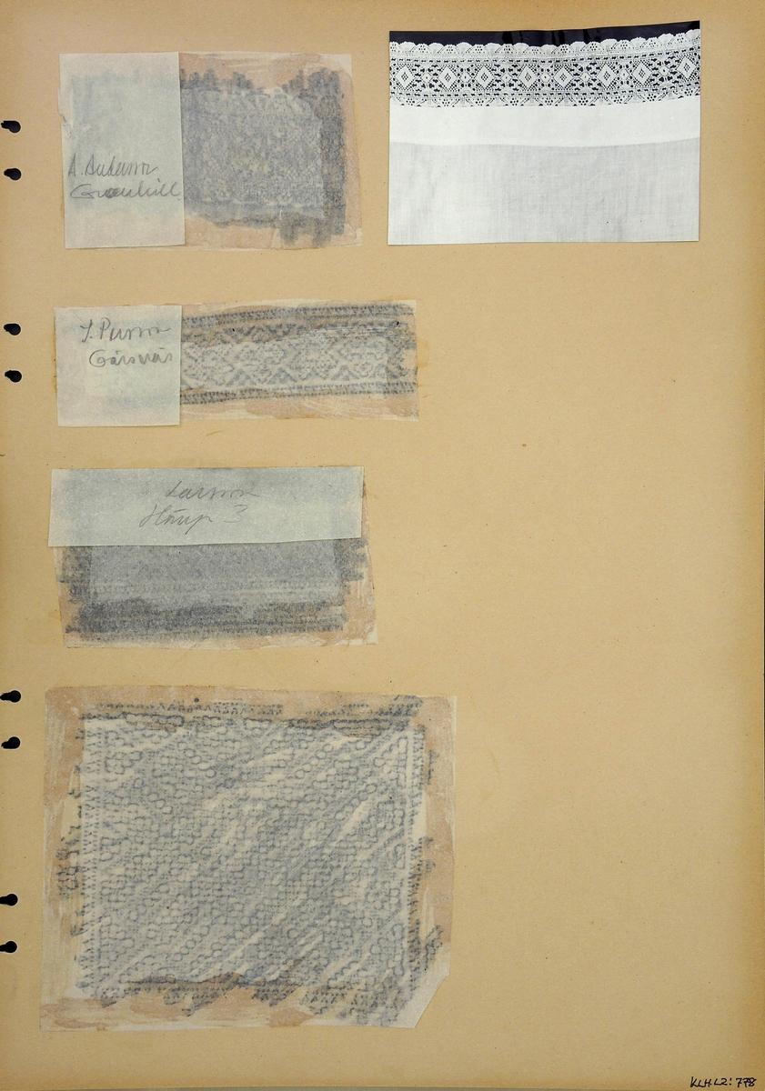 Kartongark med fyra frottage och ett fotografi av knypplad spets och broderier