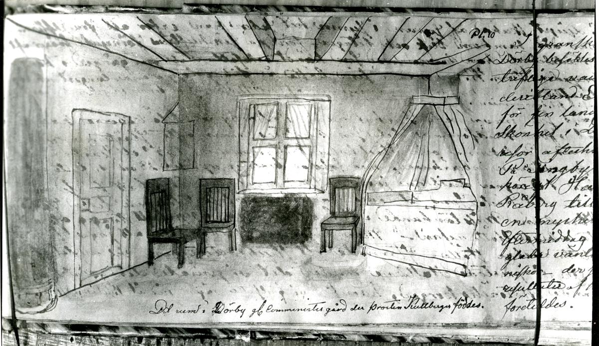 Det rum i Dörby gamla comministergård der prosten Kullberger föddes. Teckning av fröken Katarina Elisabeth Sylvander, dotter av presidenten Josua S. - Skissbok 1859.