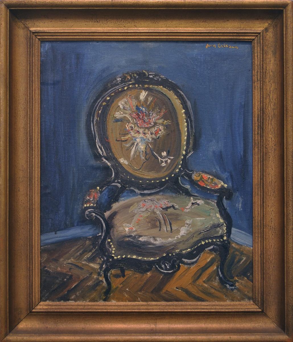 """Olja på duk, """"Stol mot blå vägg"""" av Sven X:et Erixson, 1926."""