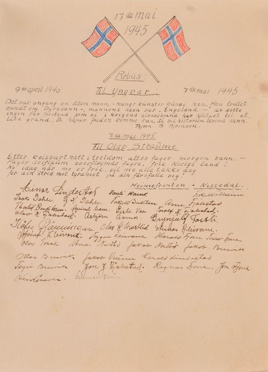 Betegnelse: Diplom frå Heimefronten i NIssedal til Olav B Straume