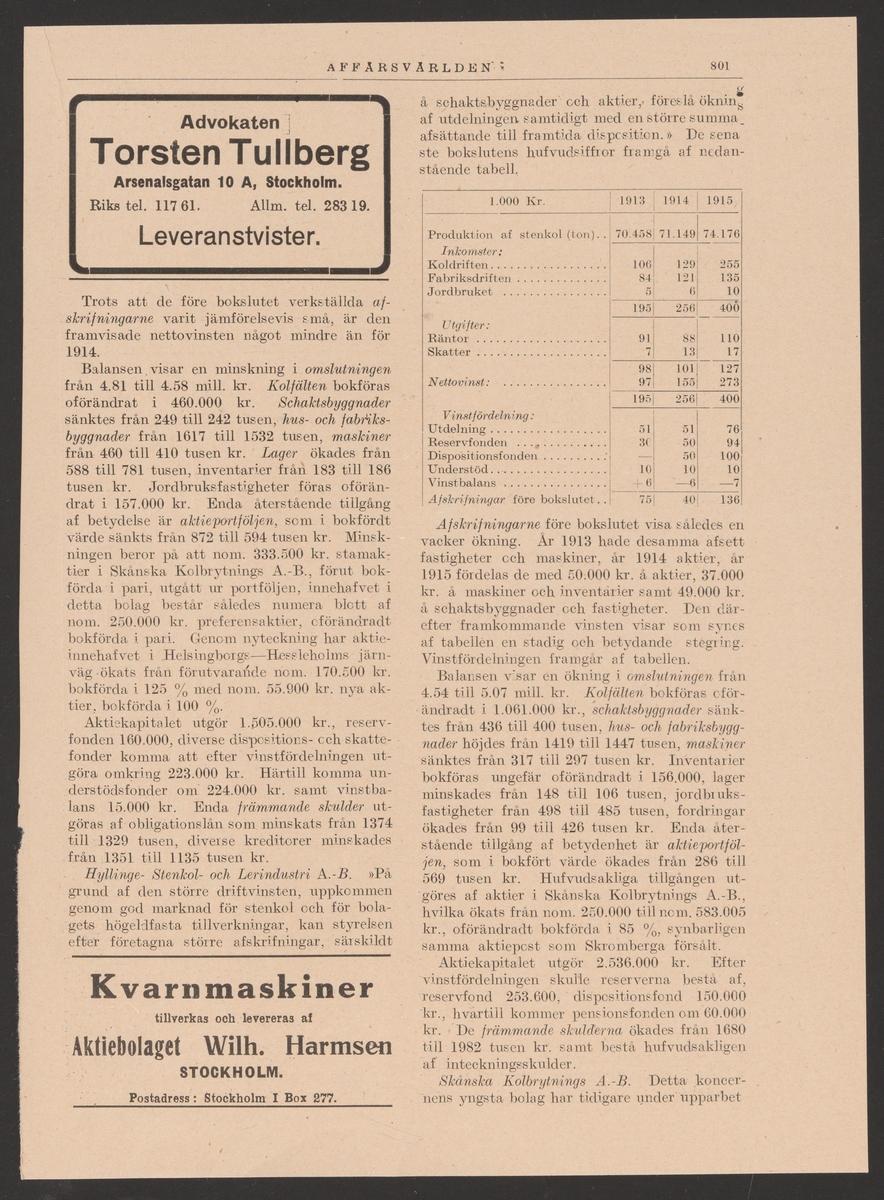 Höganäs stenkolsgruvors kronologi. Ur Carl Sahlins bergshistoriska samling.