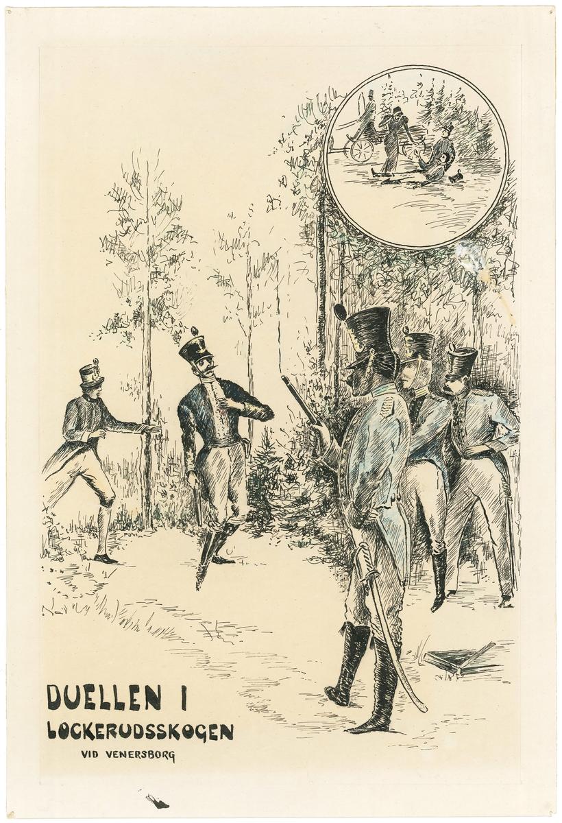 Tuschteckning av den sista duellen i Sverige med dödlig utgång. På teckningen står Duellen i Lockerudsskogen vid Venersborg.