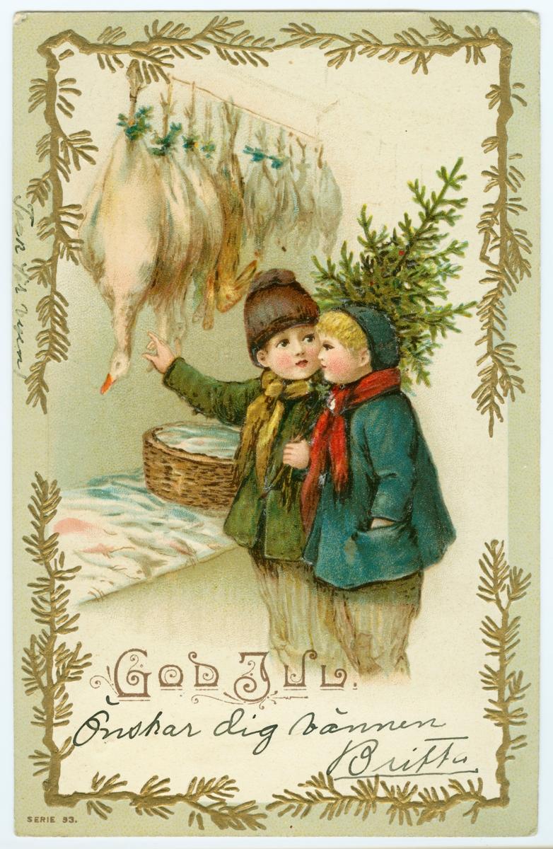 """Brevkort, julhälsning """"God Jul"""""""