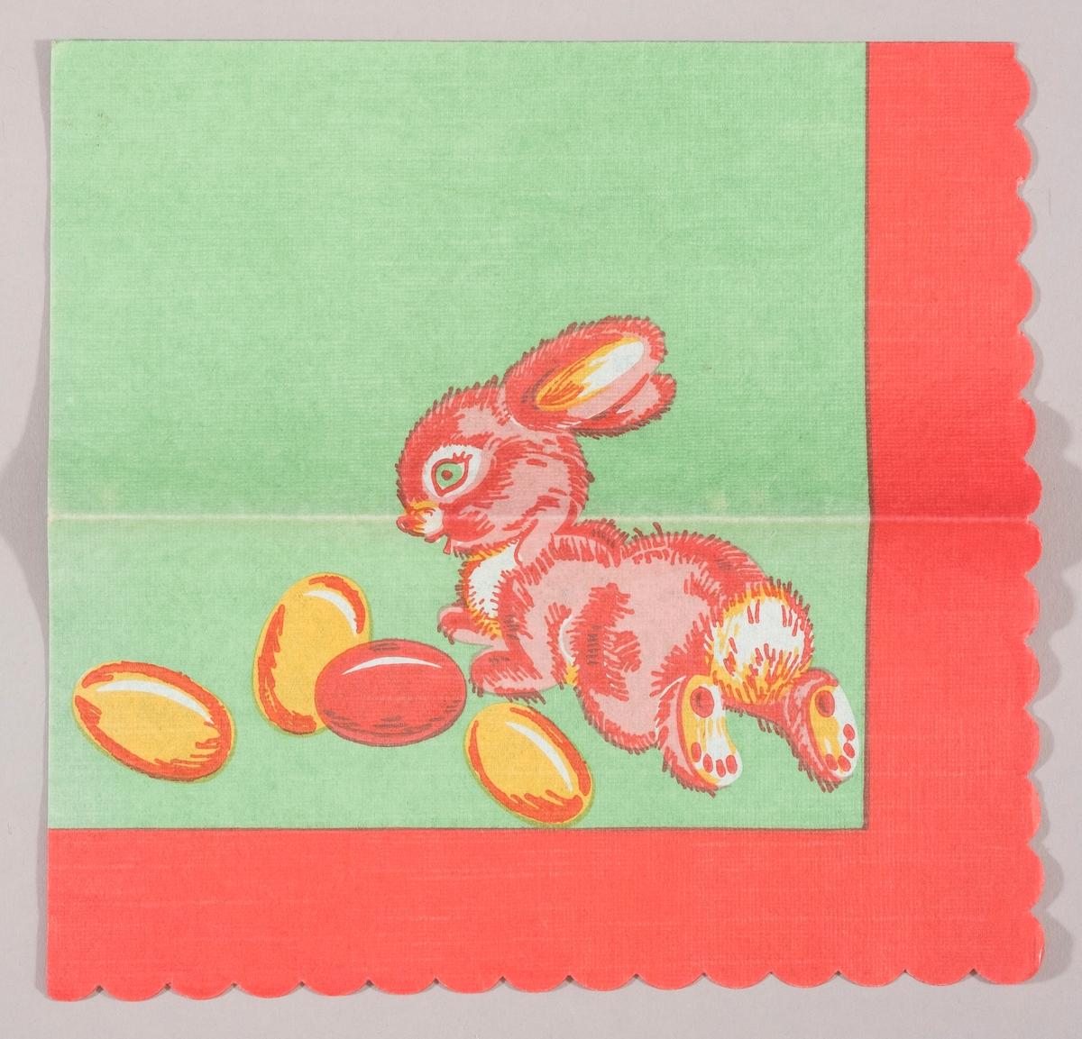 En påskehare og gule og røde påskeegg på en grønn bakgrunn med rød kant.