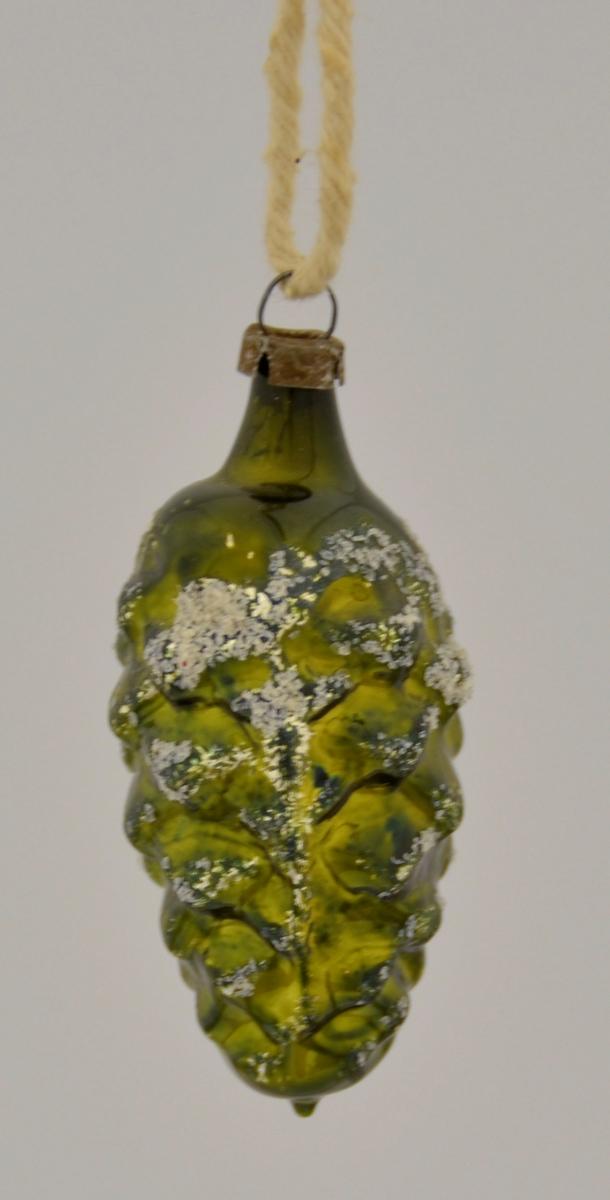 Grøn glas kongle med kvitt glitter