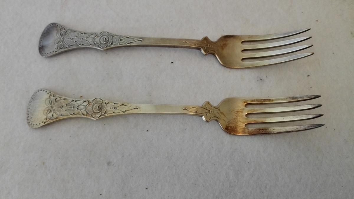 """2 gaflar i mønster - """"Flat rose"""""""