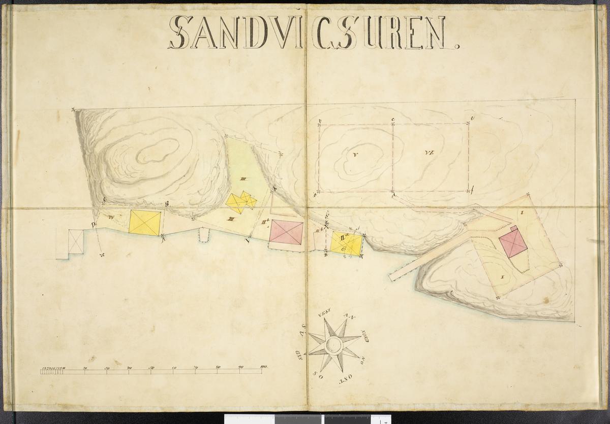 Kart over Sandvigsuren, parseller av Slåbervig, Hisøy