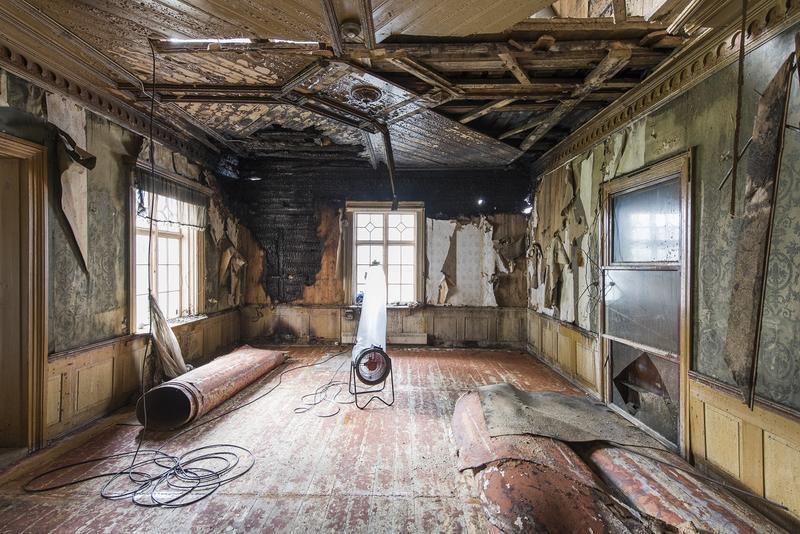 Hjørneværelset etter brannen i 2015. Foto: Erik Børseth