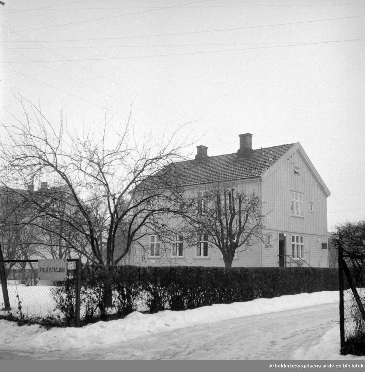 Nydalen Politistasjon i Maridalsveien 276. Januar 1957