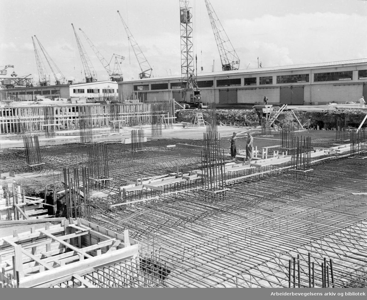 Havna. Filipstad, utvidelse av havna. Juli 1955