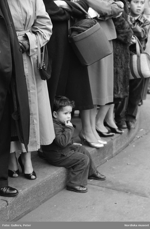 London. Publik vid ett evenemang. En pojke sitter på trottoarkanten.