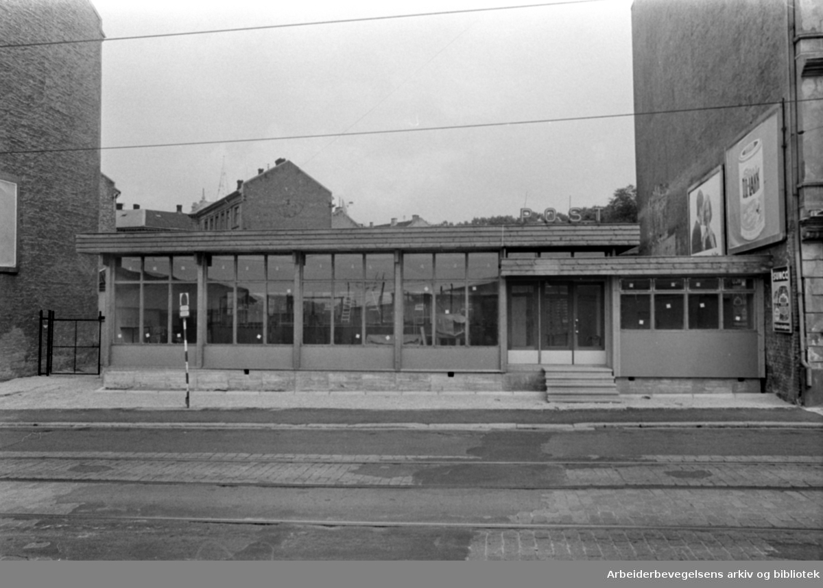 Gamlebyen. Gamlebyen Postkontor. Juli 1966