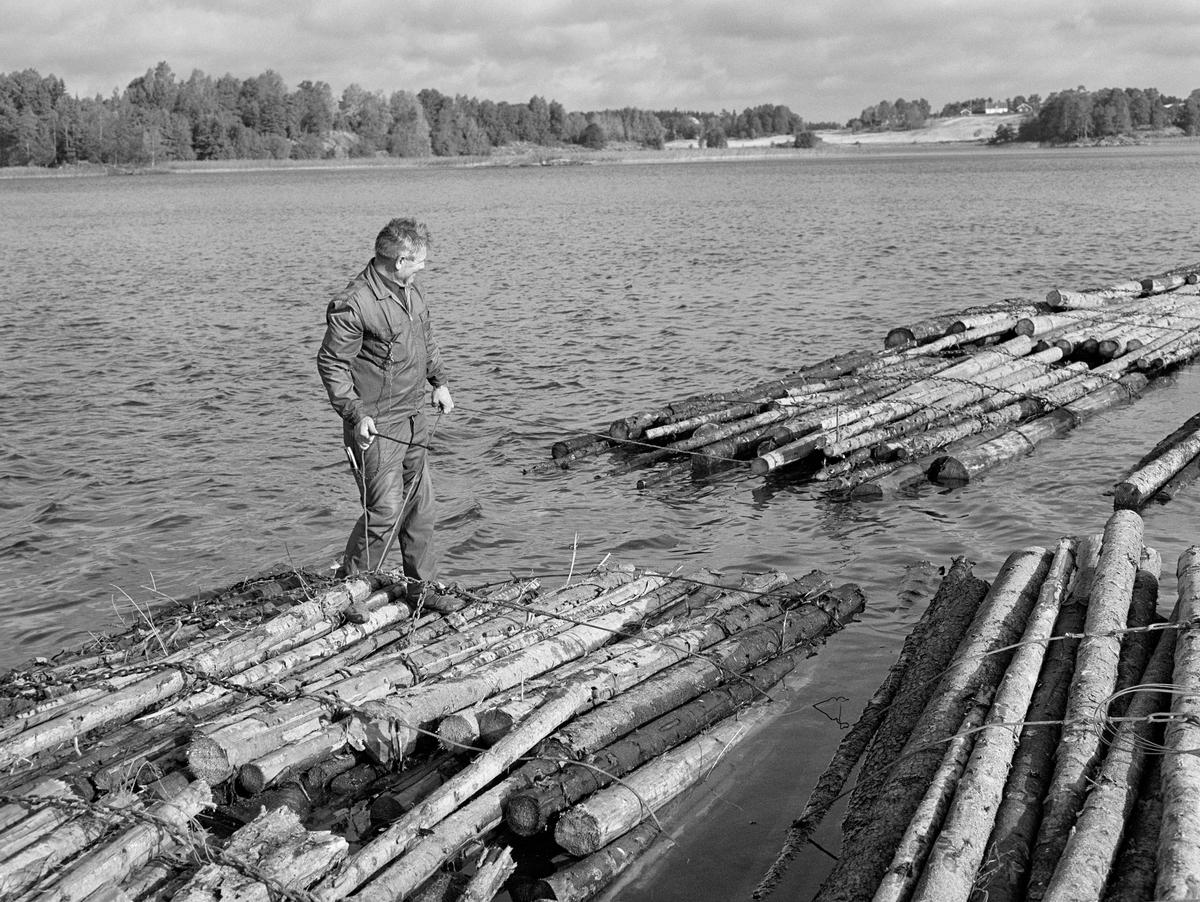 Sammenbinding av tømmerbunter til slep på flåtested i nordenden av Aremarksjøen i Østfold.  Fotografiet er tatt i 1982, den siste sesongen det ble fløtet tømmer i Haldenvassdraget.  Mannen på fotografiet er Harald Gunneng.  Han sto og dro i en varier for å trekke en tømmerbunt nærmere den han sjøl sto på.  Fløtingsvirket i Haldenvassdraget ble de siste driftsåra utislått som lastebilbunter.  Disse buntene ble bundet sammen i store slep, som ble buksert over innsjøene med kraftige slepebåter som trekkraft.  Ved slusestedene måtte imidlertid slepene deles opp i kortere lenker, som fikk plass i slusekamrene.  Nedenfor slusene ble slusevendingene bundet sammen til lengre lenker igjen, og flere slike lenker ble samlet til store, rektangulære slep.  Over disse ble det spent en langsgående såkalt «revevaier» med en «hanefot» bakerst for sleping.  Det var disse vaierne slepelina ble festet i.  Harald Gunneng var ansatt i Haldenvassdragets Fellesfløtningsforening som skipper og verkstedmann med Ørje som arbeidsplass.  En liten historikk om tømmerfløting og kanaliseringsarbeid i Haldenvassdraget finnes under fanen «Opplysninger».