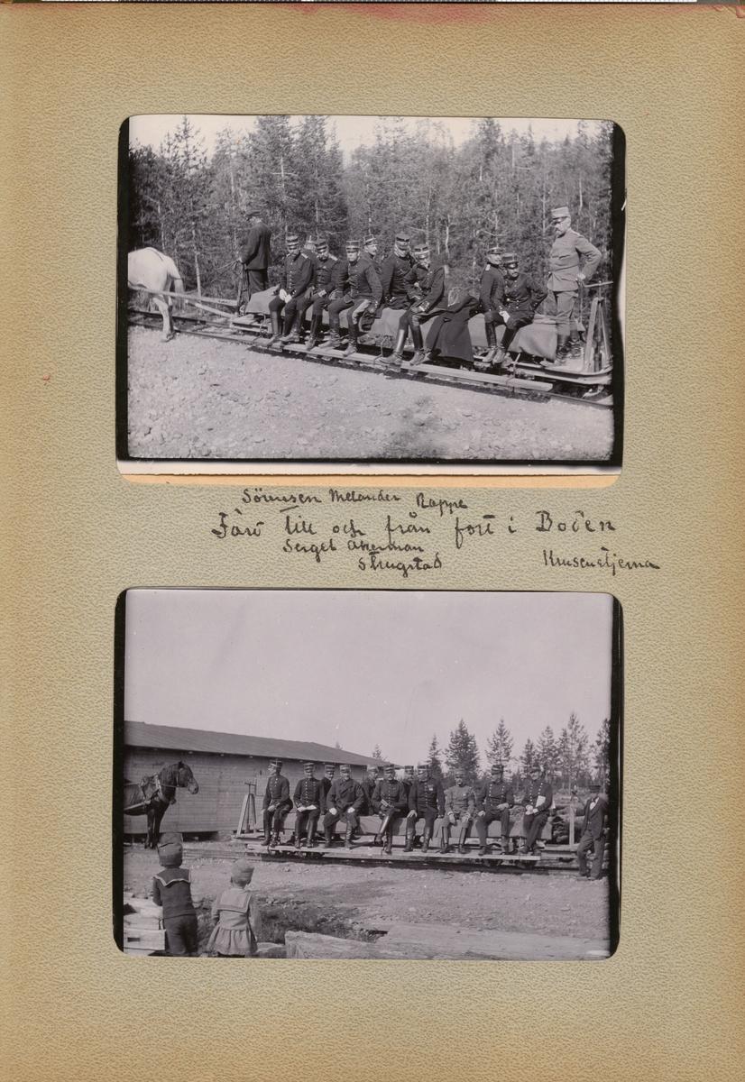 """Text i fotoalbum: """"Sörensen, Melander, Rappe. Färd till och från fort i Boden. Sergel, Åkerman, Strugstad, Krusenstjerna."""""""