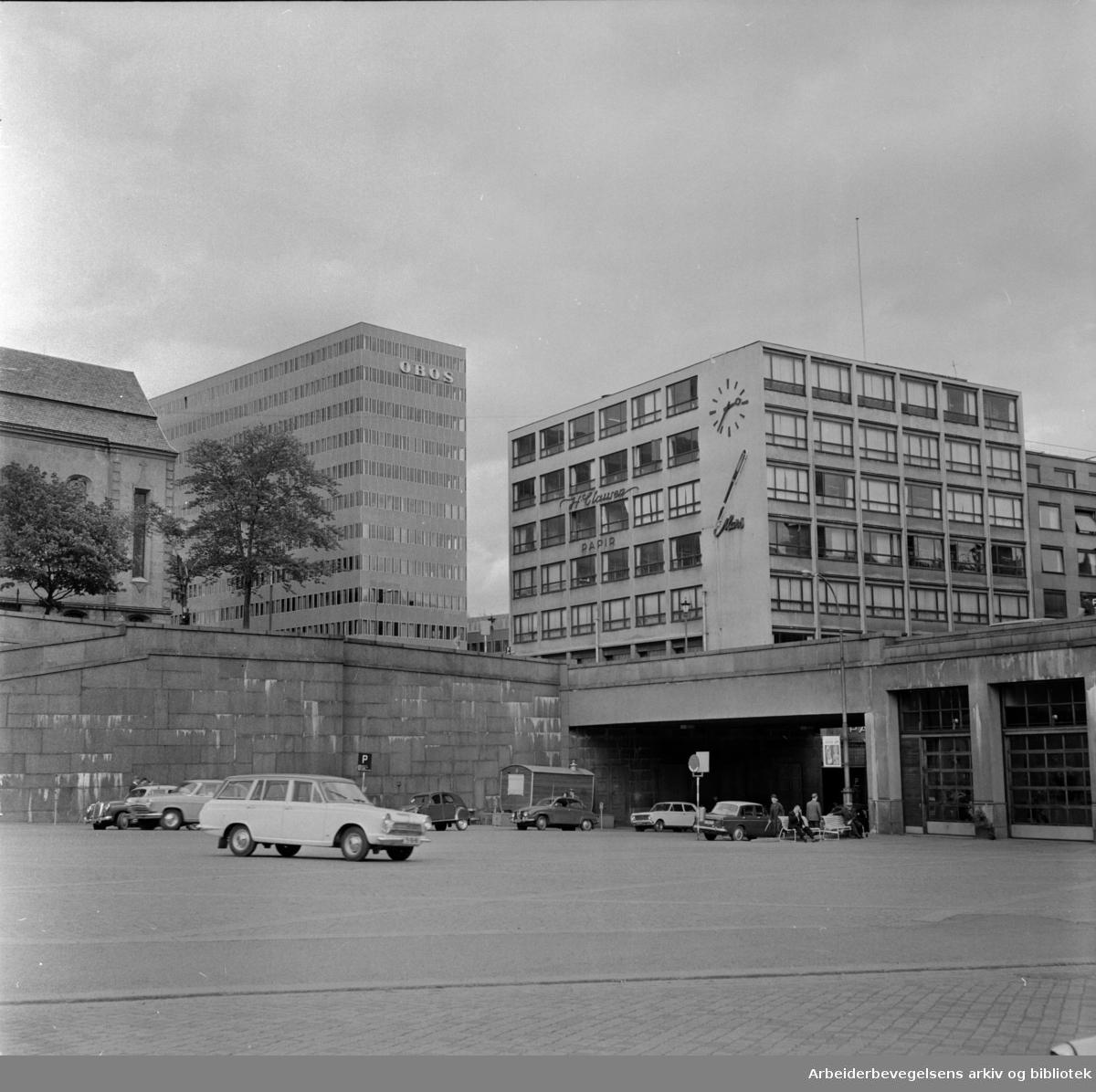 Arne Garborgs Plass før utbyggingen. Juni 1966