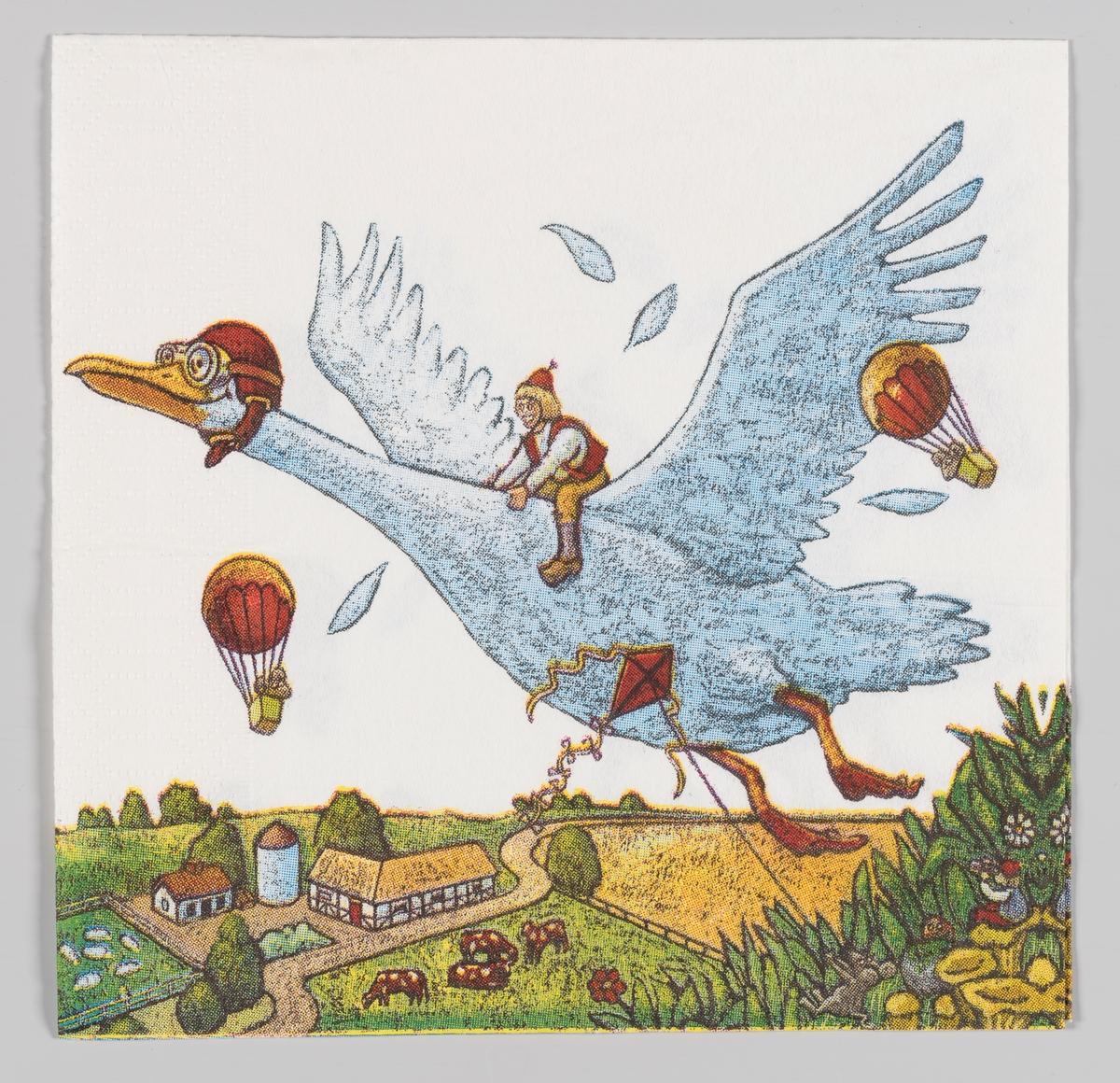 En gutt sitter på flygende gås med pilotlue med briller. De har følge av to luftballonger. De flyger over et landskap med en bondegård.