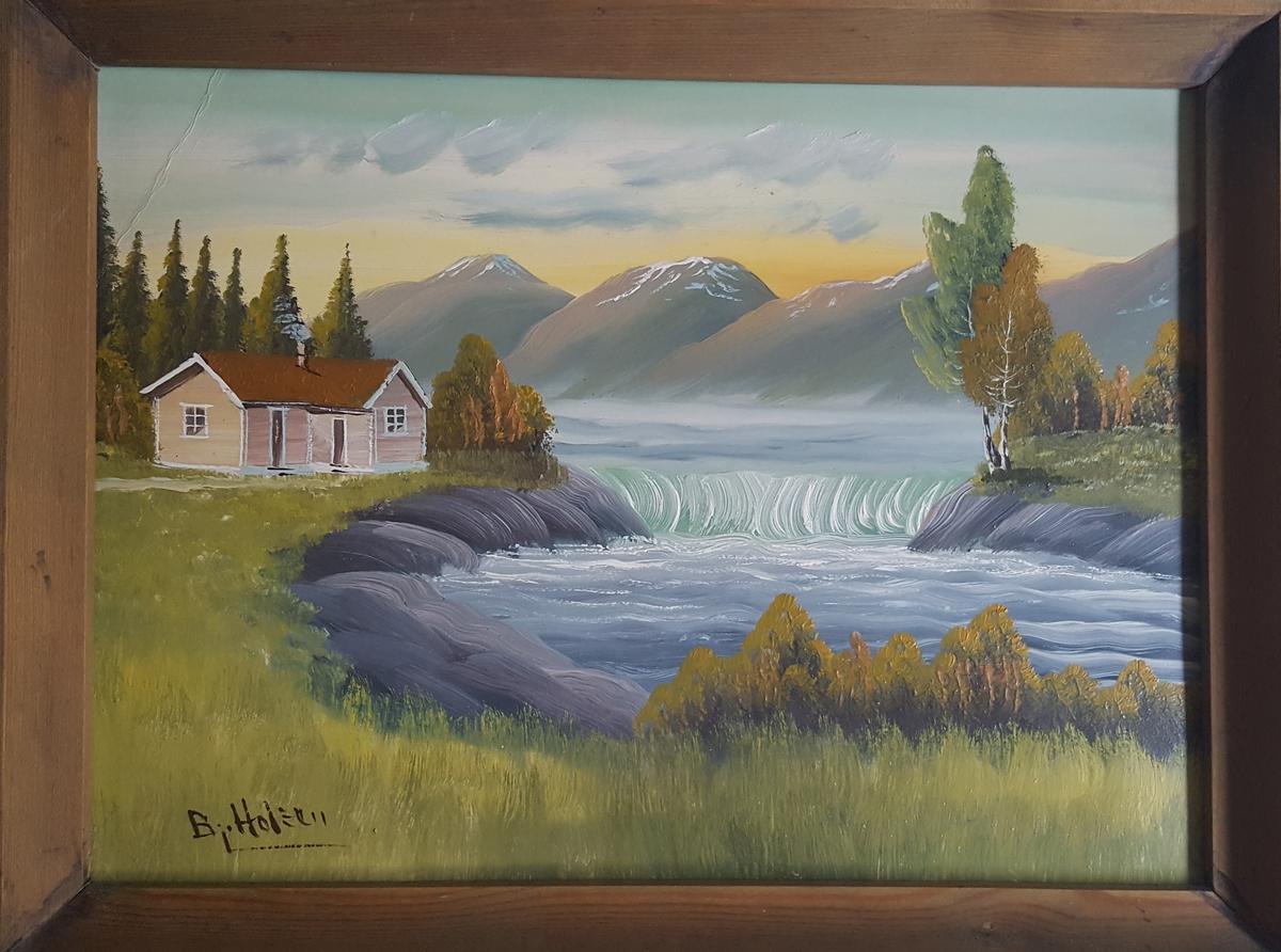 Landskaps måleri i råme