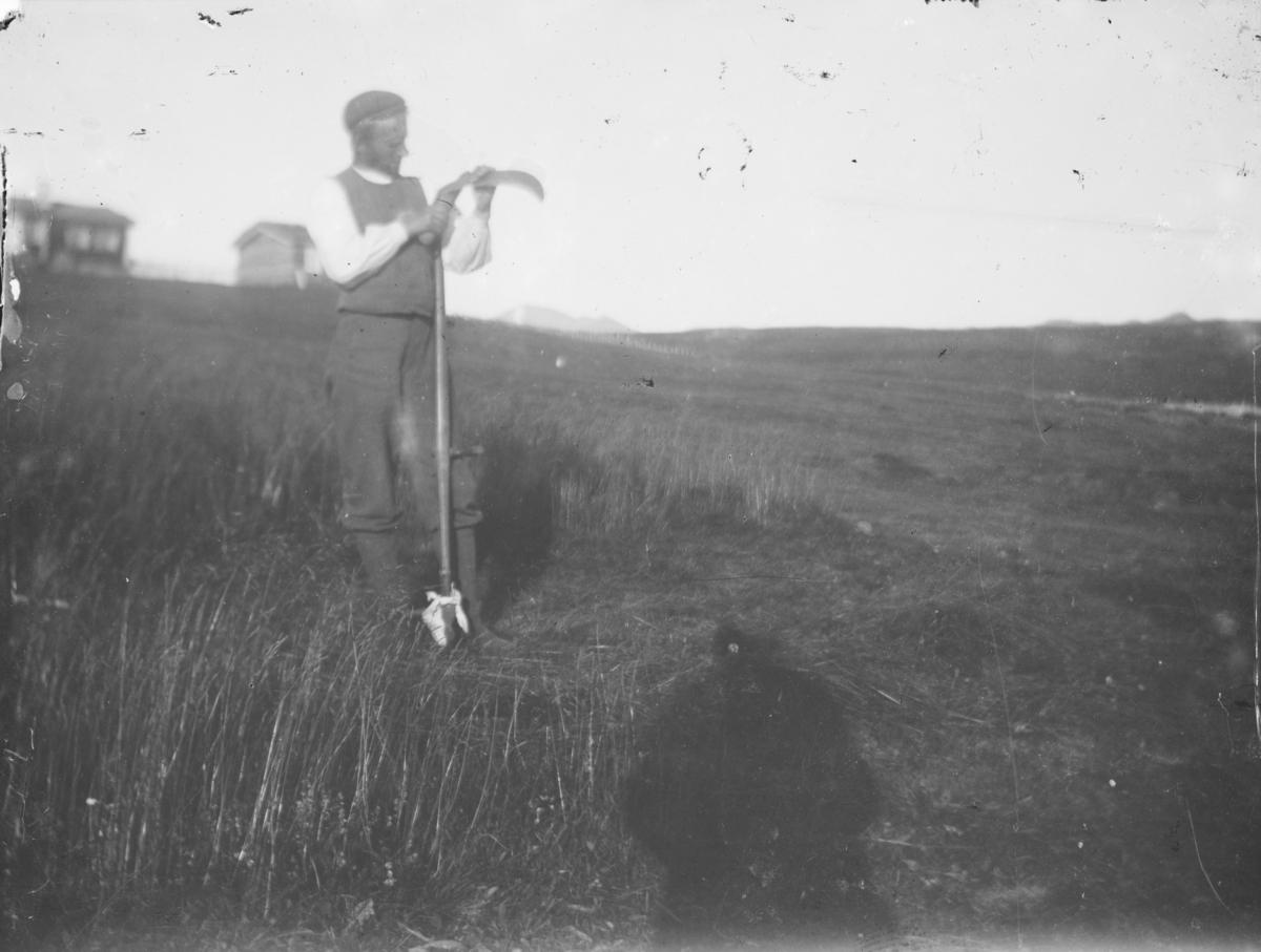 Mann står og kvesser ljåen, mulig ved Bessheim