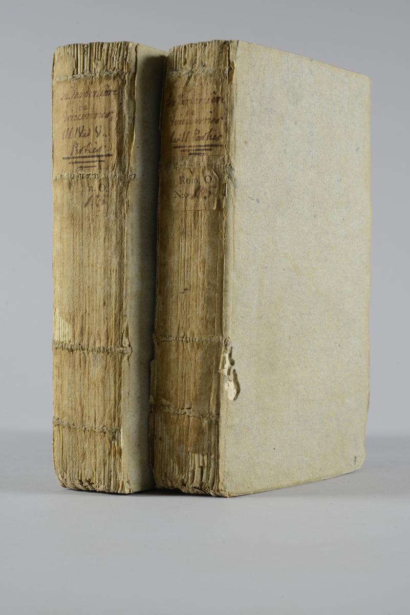 """Bokverk, pappband,""""La jardiniére de Vincennes"""", del 1-5,  tryckt 1757 i London. Pärmar av gråblått papper, oskuret snitt"""